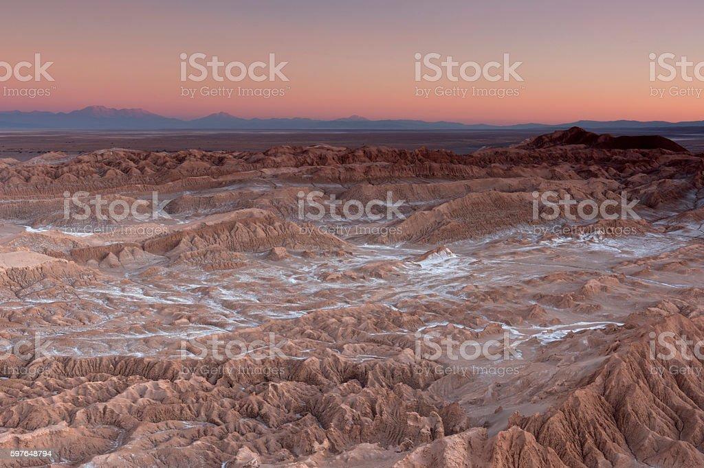 Sunset at Valle de la Muerte, Atacama Desert, Chile stock photo