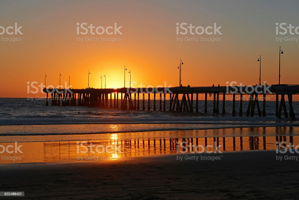 Sunset at Venice Beach with Pier, Los Angeles California stock photo