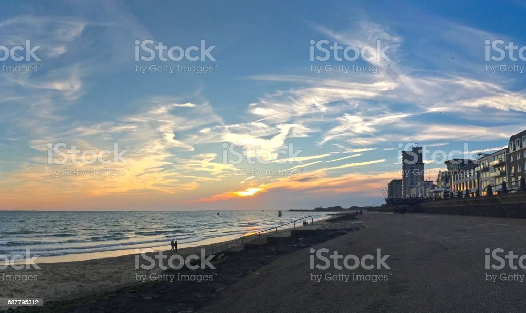 Sunset at Vlissingen sea front stock photo