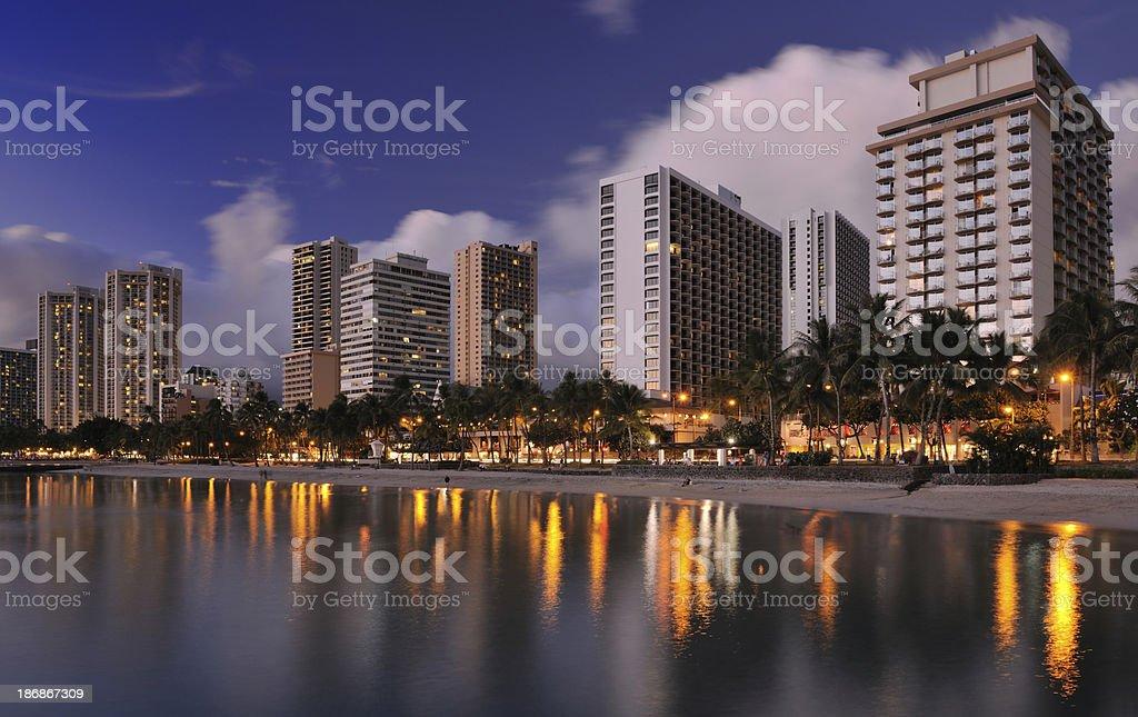 Sunset at Waikiki Beach, Oahu, Hawaii (XXXL) royalty-free stock photo