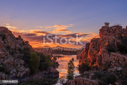 a beautiful sunset at scenic Watson Lake near Prescott Arizona