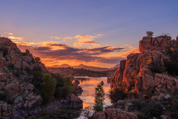 Sunset at Watson Lake Prescott Arizona stock photo