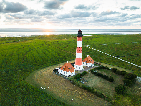 Sunset at Westerheversand Lighthouse Nordfriesland Germany