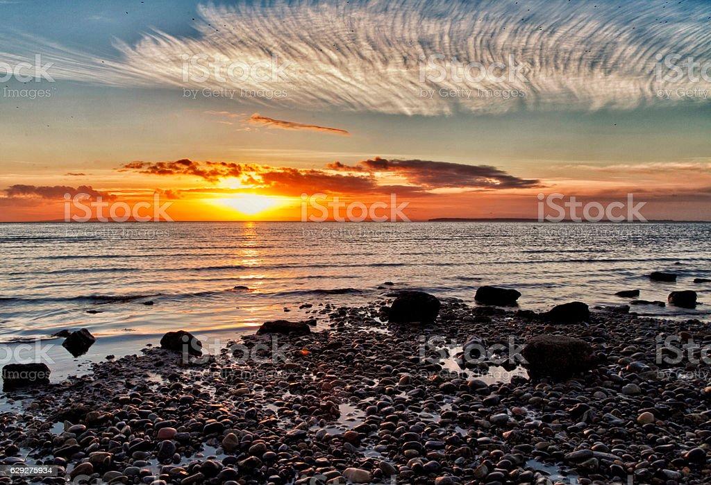 Sunset at White Rock beach, Canada stock photo
