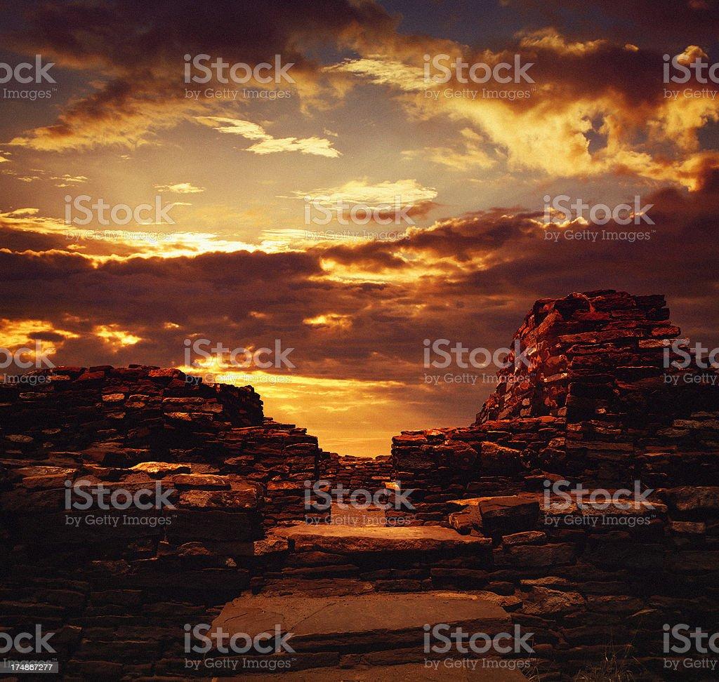 Sunset at Wupatki National Monument stock photo
