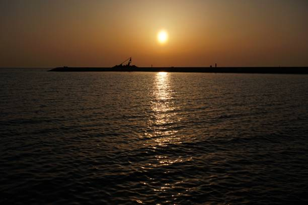 山陽小野田市の焼野ベイエリアの夕日。 ストックフォト