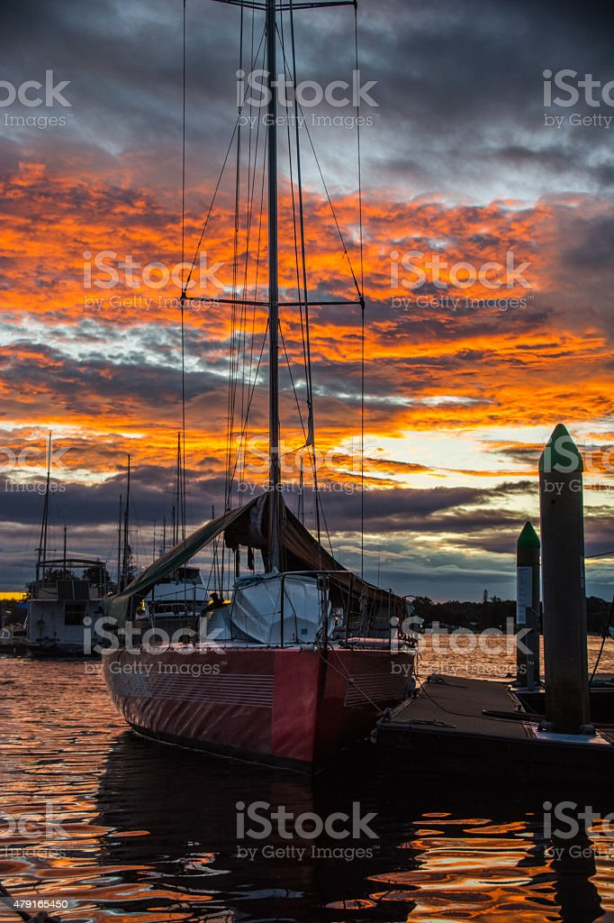 Sunset at Yamba Marina, NSW stock photo