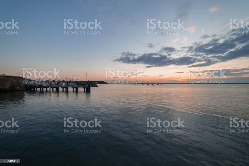 Sunset at Yarmouth on the Isle of Wight stock photo