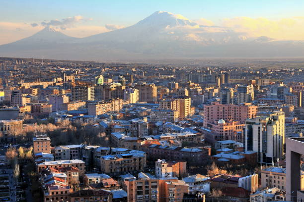 Sunset at Yerevan City, view with majestic Ararat mountain, Armenia Sunset at Yerevan City, view with majestic Ararat mountain, Armenia yerevan stock pictures, royalty-free photos & images