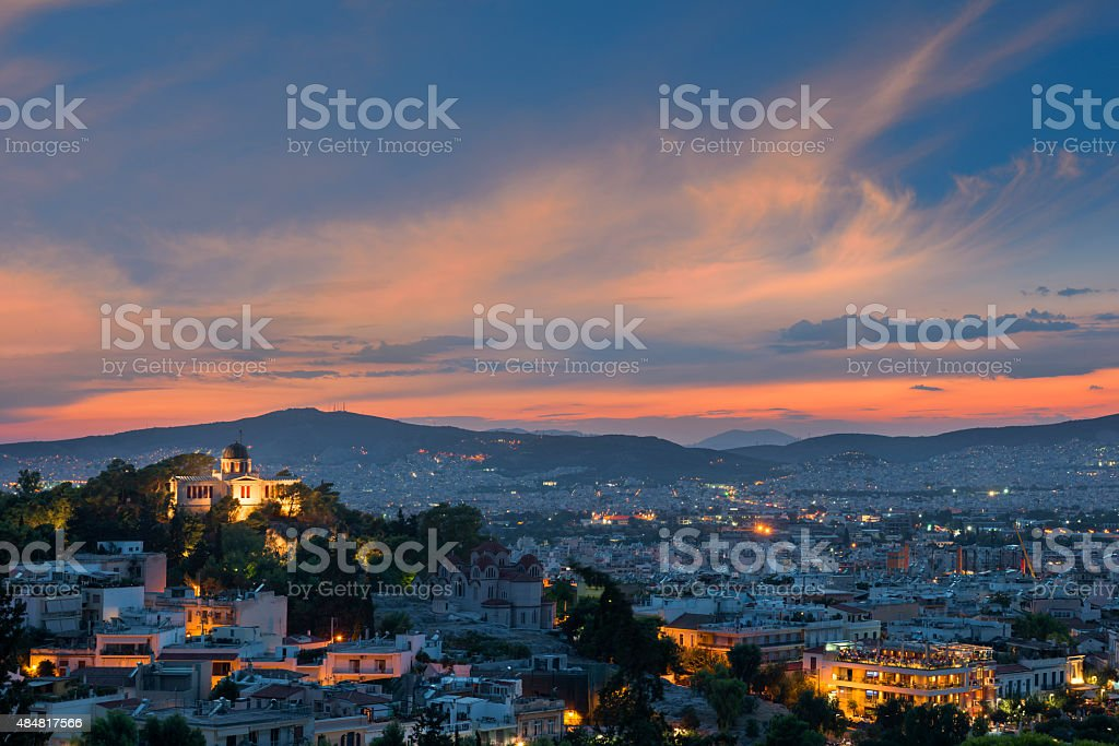 Sunset Athens cityscape, Greece stock photo