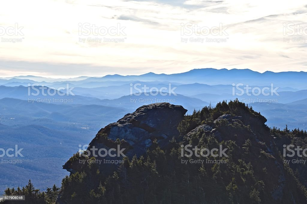 Sunset Atop Grandfather Mountain in The Blue Ridge, NC stock photo
