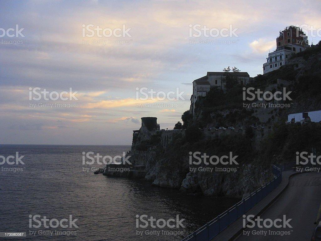 FT - Sunset Atrani Amalfi Coast royalty-free stock photo