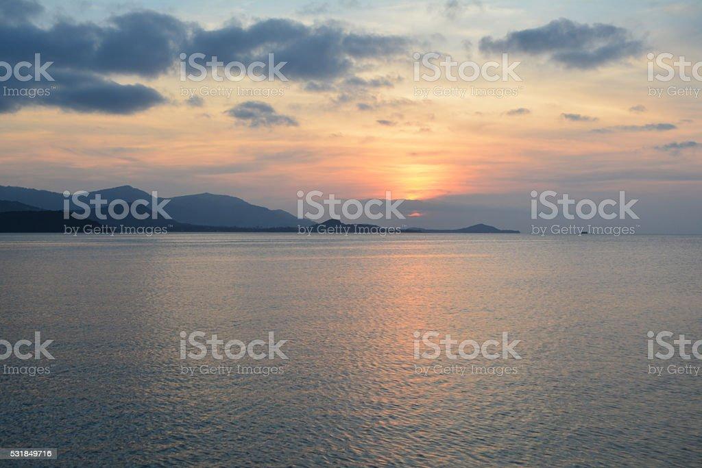 Sfondo Tramonto Sul Mare Tailandia Fotografie Stock E Altre