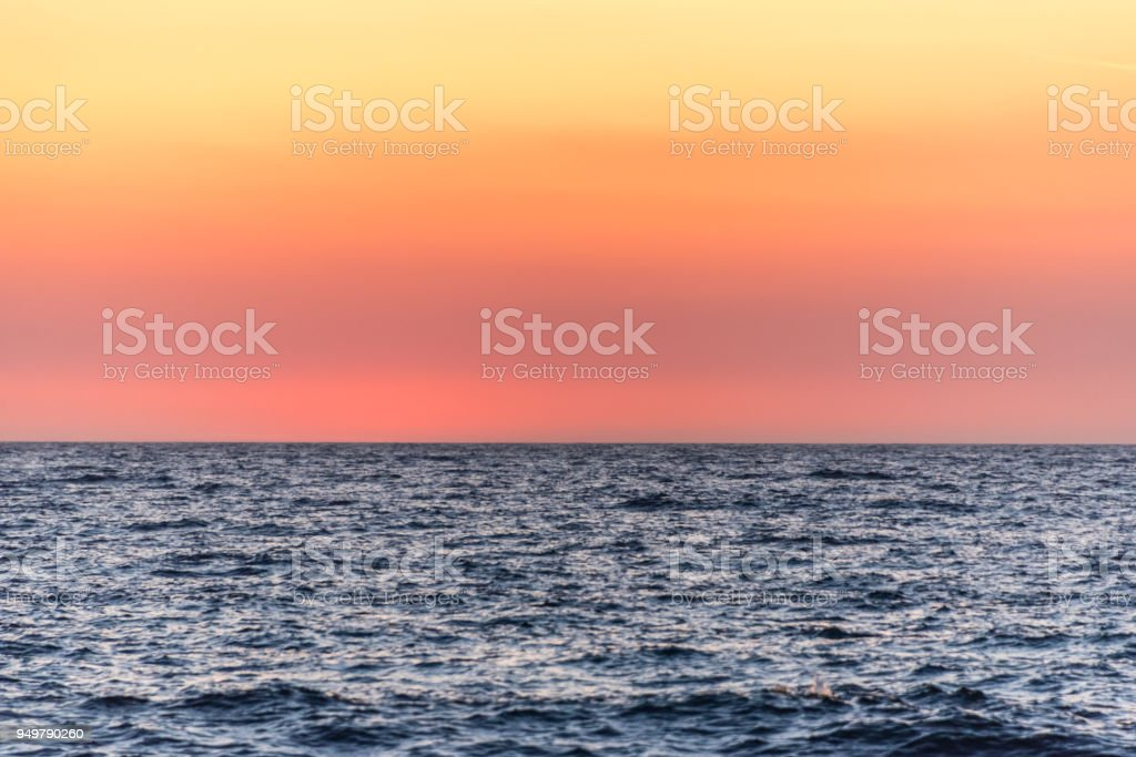 Sunset Background of the Mediterranean Sea stock photo
