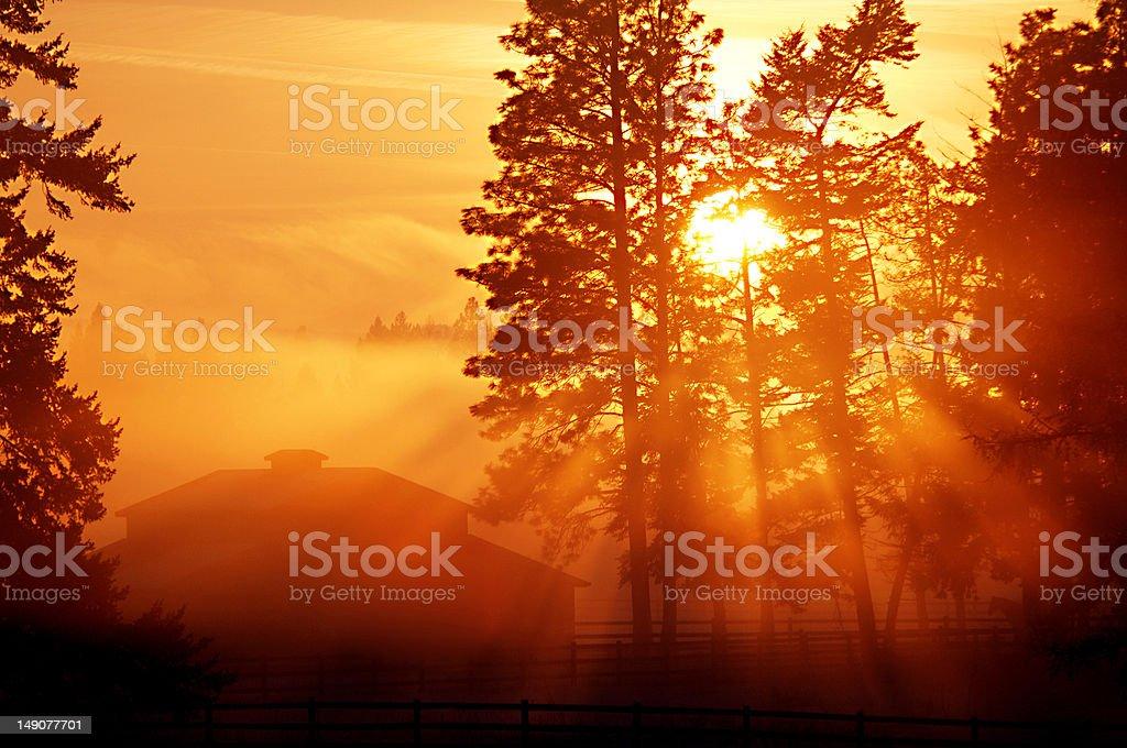 Sunset Barn royalty-free stock photo