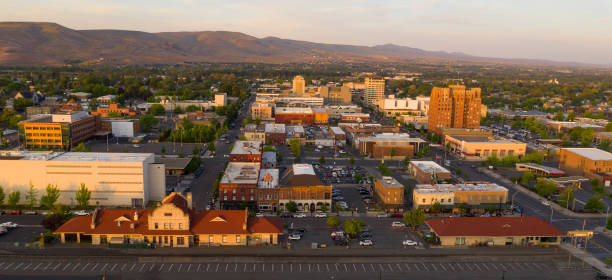 Sunset Bathes Downtown Yakima Washington in Golden Light stock photo