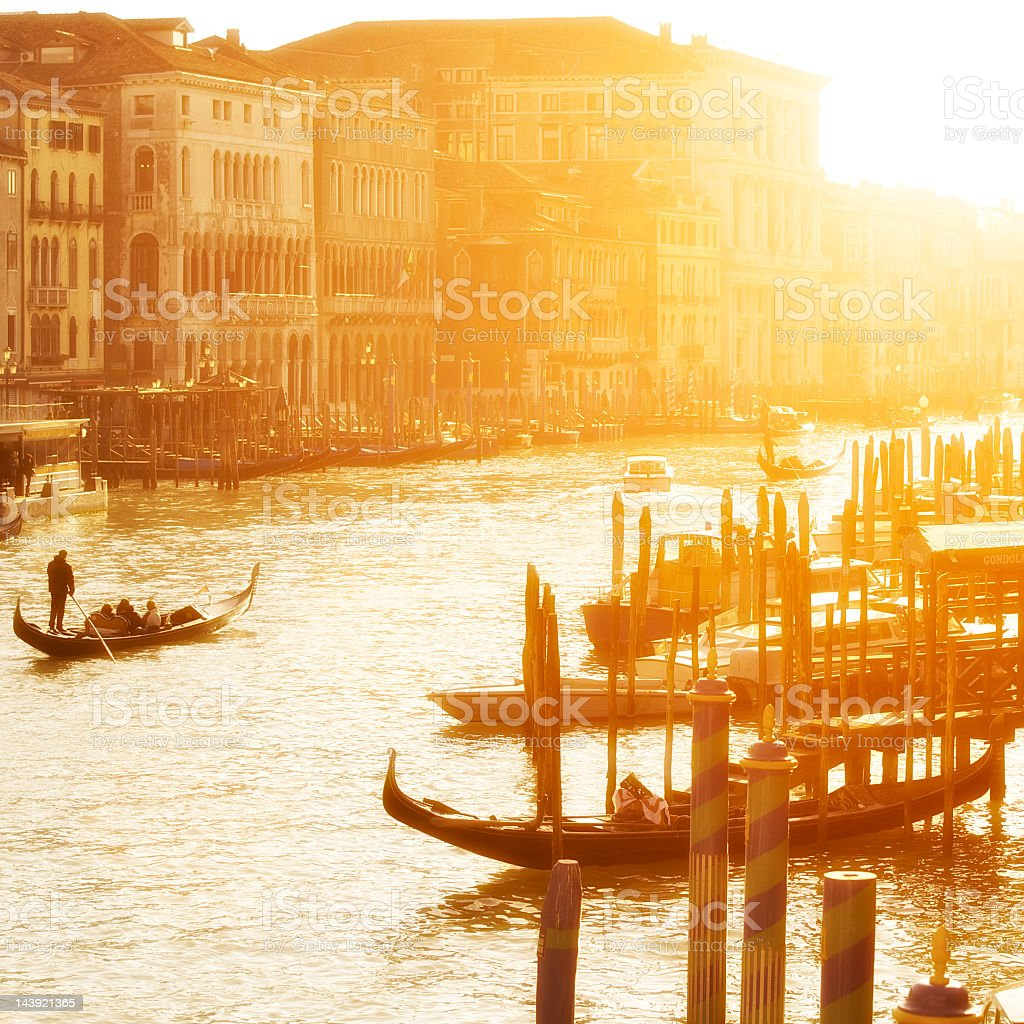 Sunset bathes Venice's Grand Canal in golden light royalty-free stock photo