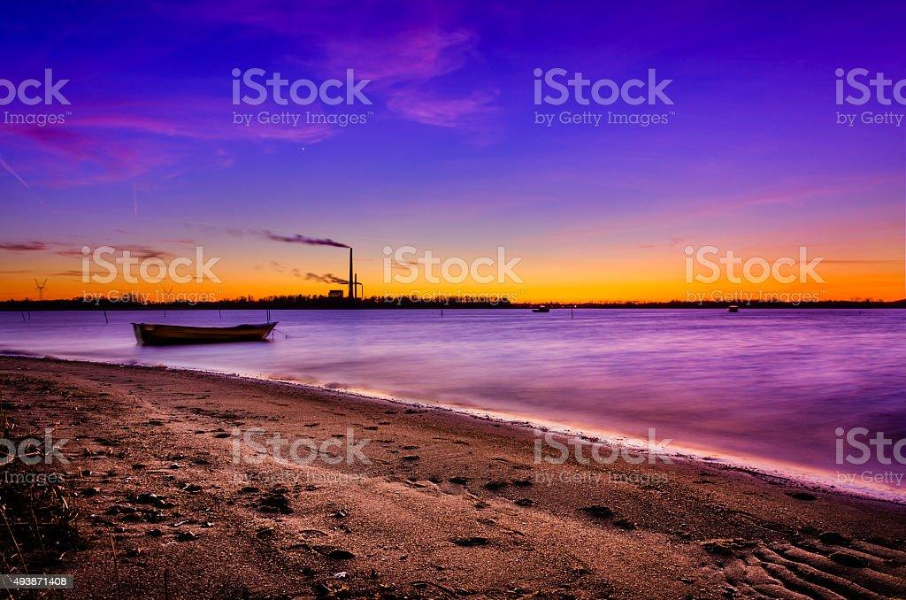 Sunset beach at Odense Fjord in Denmark Fyn stock photo