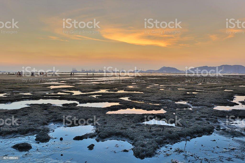 Sunset beach in PAK LAI photo libre de droits