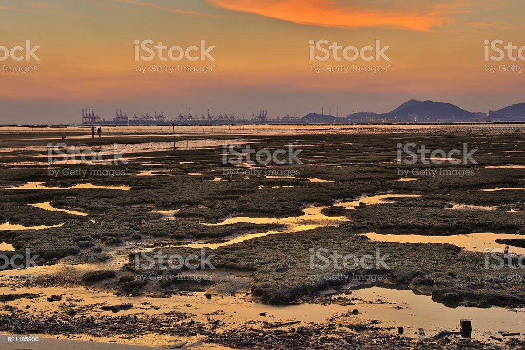 Sunset beach in Pak Nai  hk Lizenzfreies stock-foto