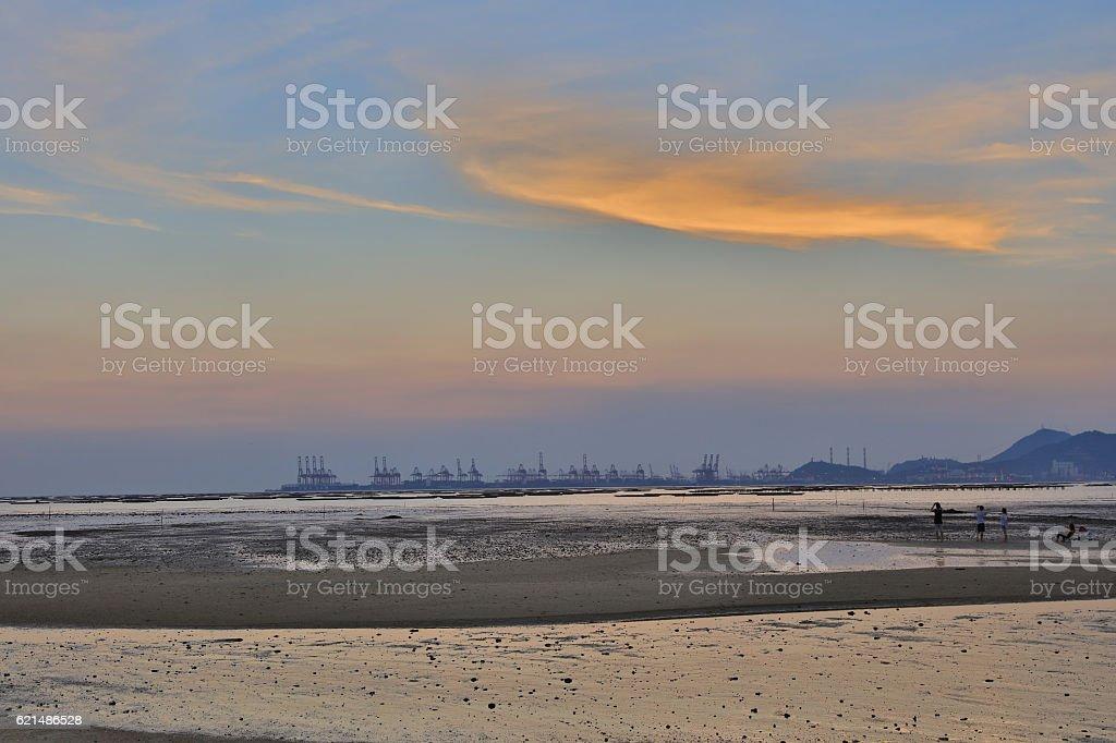 Sunset beach in Pak Nai  hk foto stock royalty-free