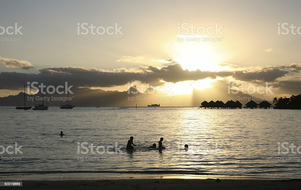 Sunset  Beach in Tahiti royalty-free stock photo