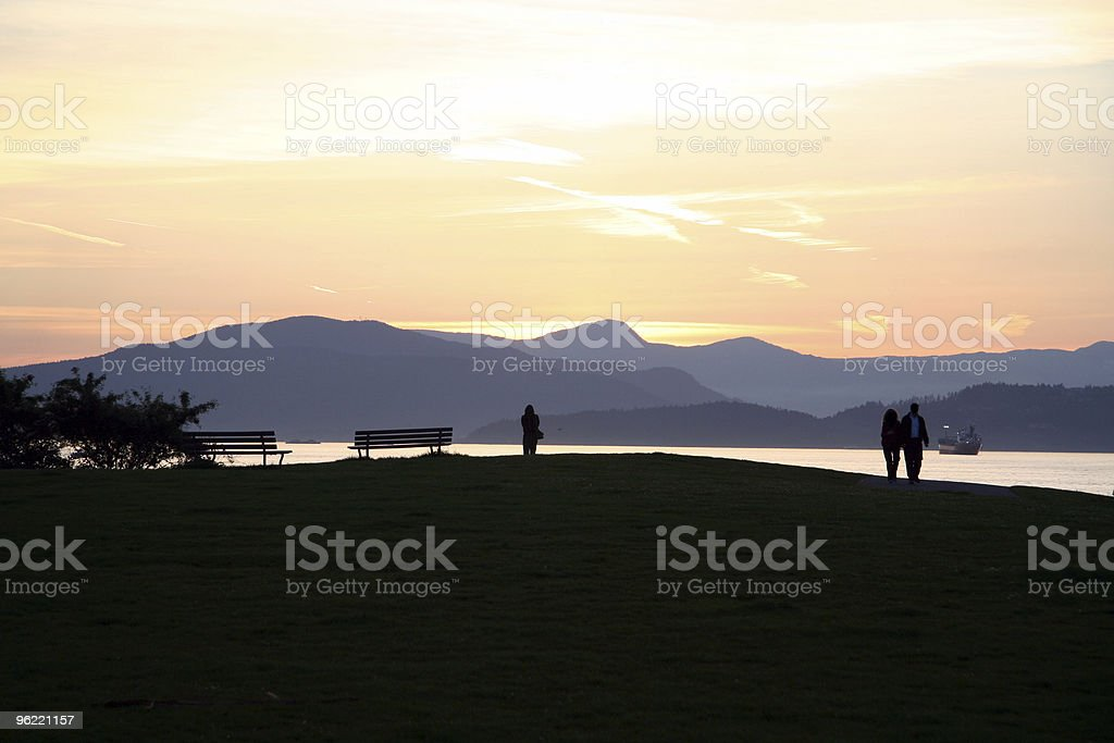 sunset beach in vancouver royalty-free stock photo