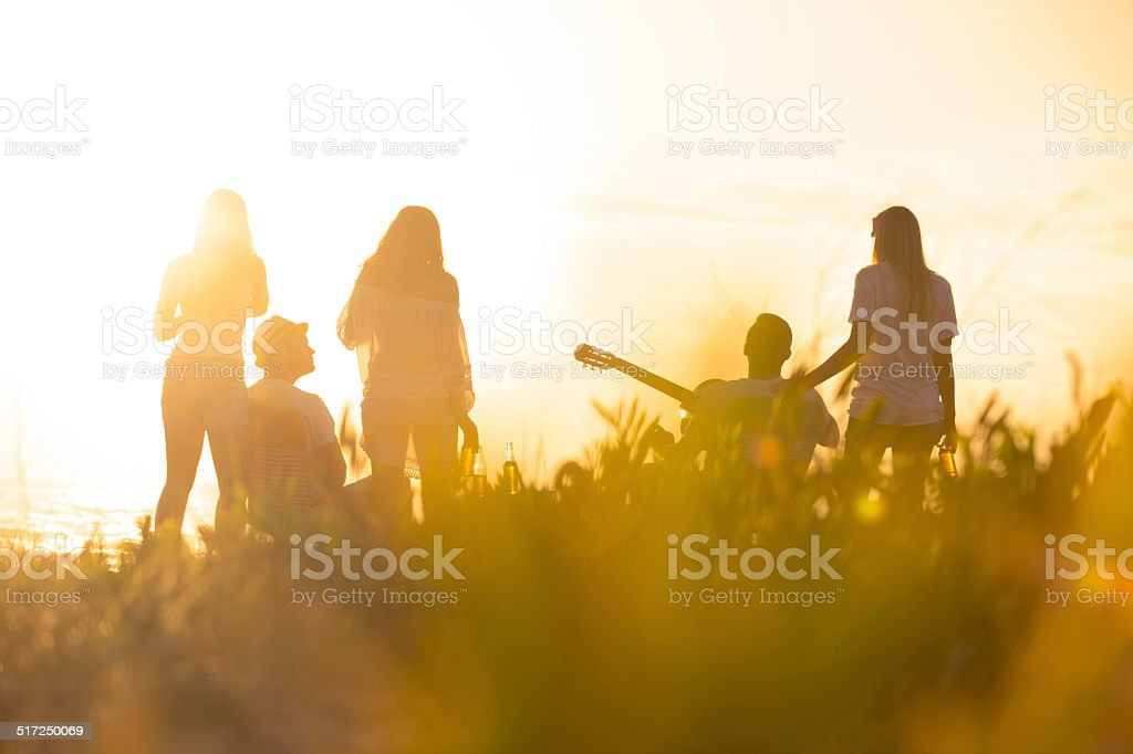 Sunset Beach party with a group of friends. stock photo