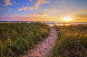 Sunset Beach Path Panoramic Background