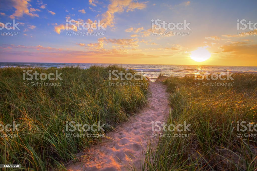 Sunset Beach Path Panoramic Background stock photo