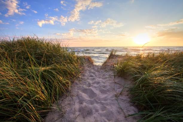sunset beach-pfad-panorama-hintergrund - lake michigan strände stock-fotos und bilder