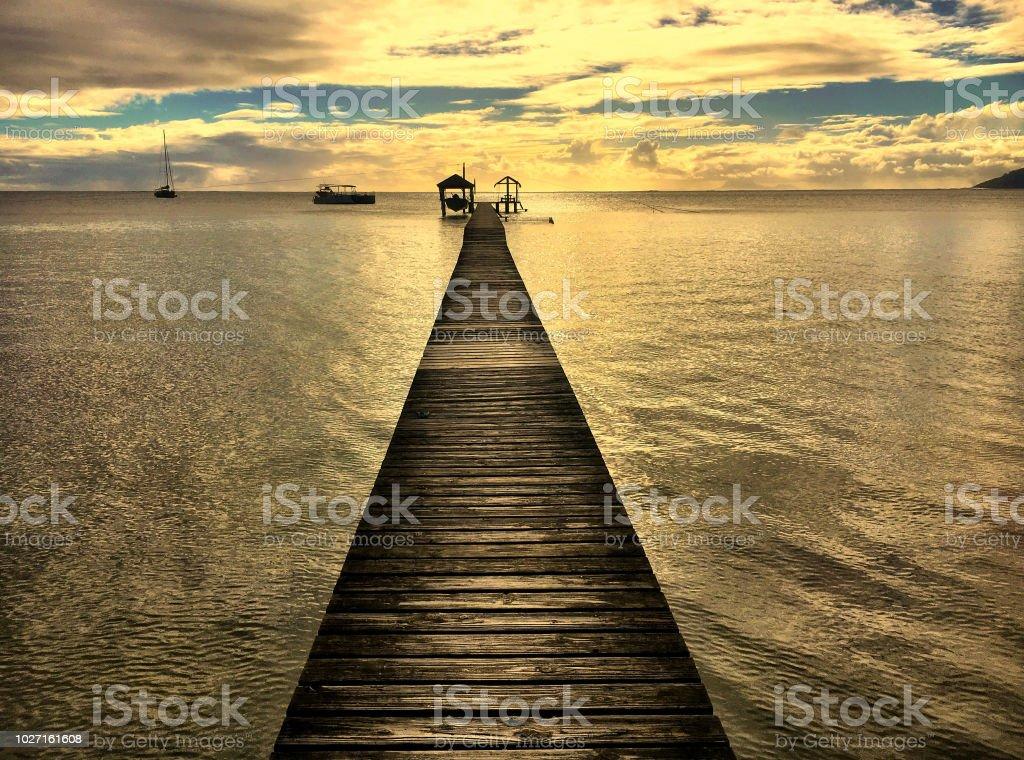 Sunset Beach pier stock photo
