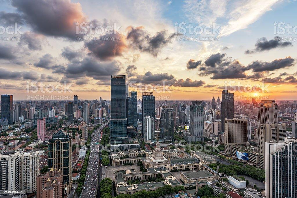 Sunset beautiful city of Shanghai royalty-free stock photo