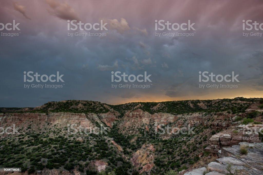Sunset Begins Over Palo Duro Canyon stock photo