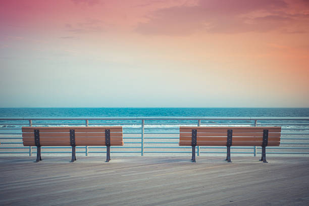 Sunset Benches beach stock photo