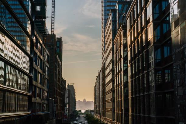 Sunset Between Buildings stock photo