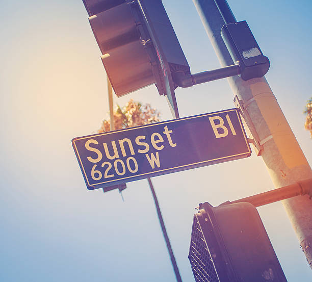 Sunset Blvd In Los Angeles Sunset Blvd in Los Angeles sunset boulevard los angeles stock pictures, royalty-free photos & images