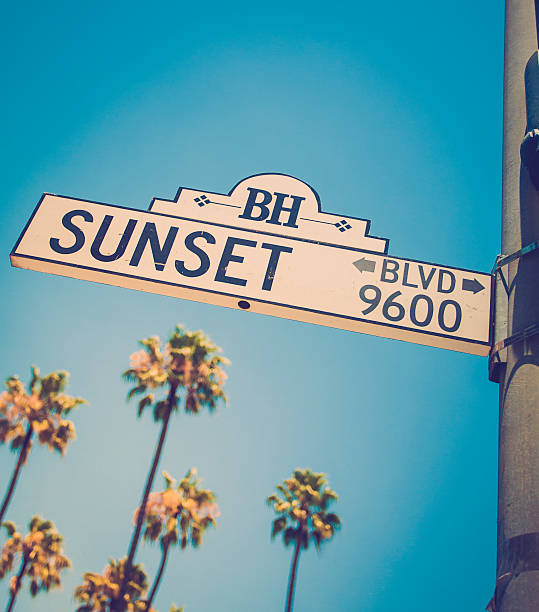 Sunset Blvd sign in Beverly Hills California Sunset Blvd Los Angeles sunset strip stock pictures, royalty-free photos & images