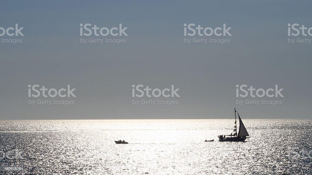 Sunset boat 02 stock photo