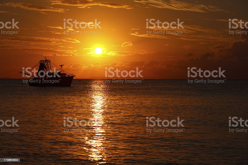 Sunset boat royalty-free stock photo