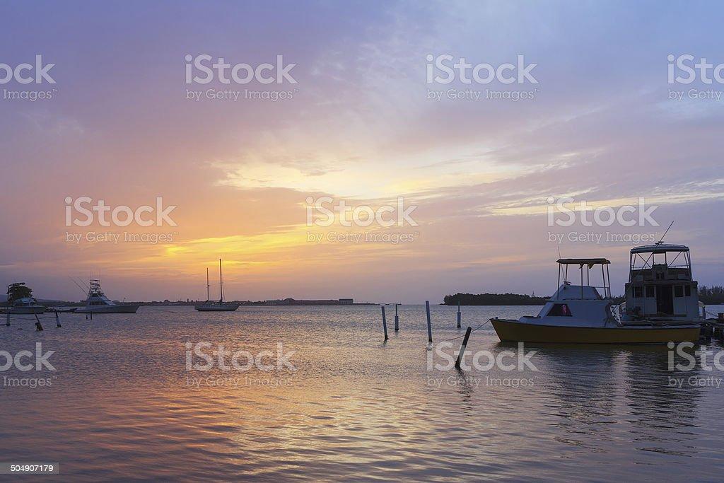 Sunset boats Luminous Lagoon, Martha Brae River, Jamaica stock photo
