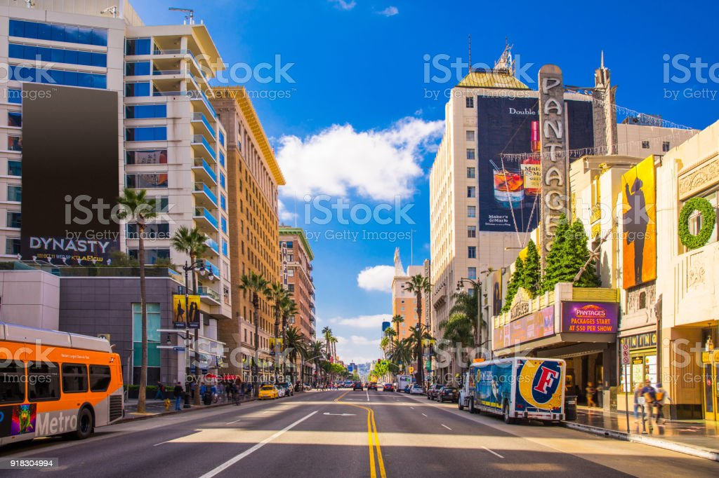 Sunset Boulevard - Hollywood in Los Angeles - USA stock photo