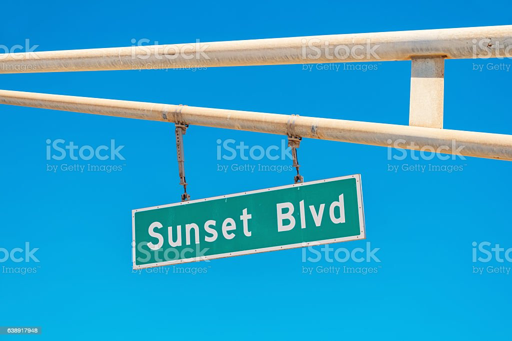 Sunset Boulevard Sign in Los Angeles California stock photo