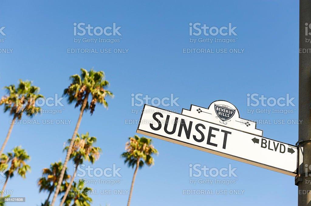 Sunset Boulevard street sign stock photo