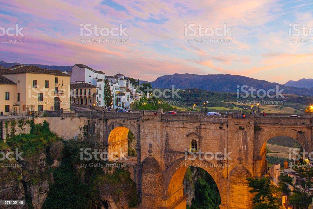 Sunset Bridge Ronda stock photo