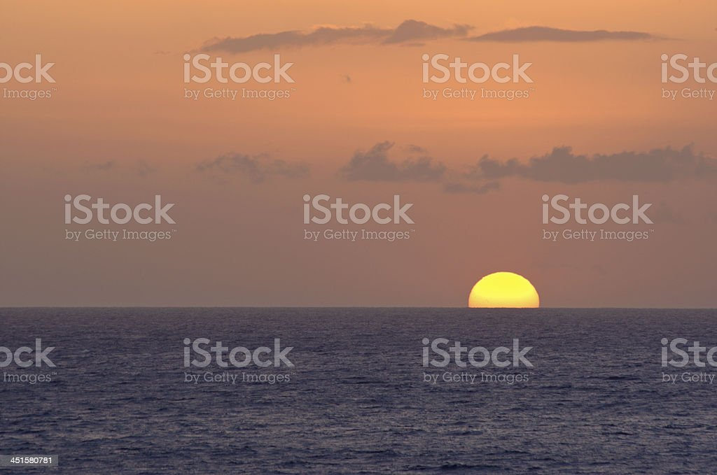 Sunset by Atlantic Ocean stock photo