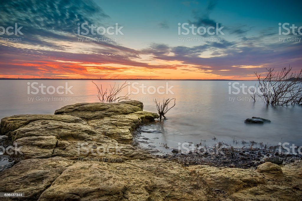 Sunset by Grapevine Lake stock photo