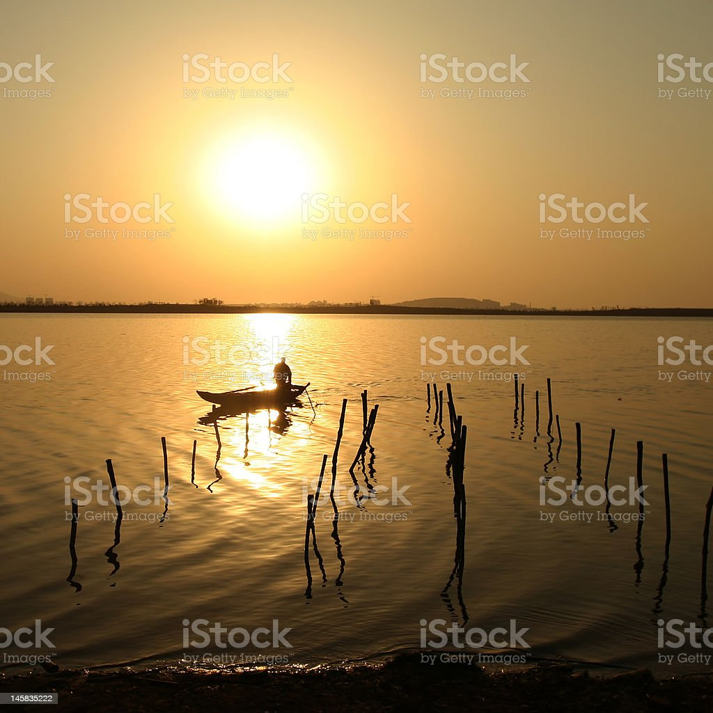 sunset by lakeside royalty-free stock photo