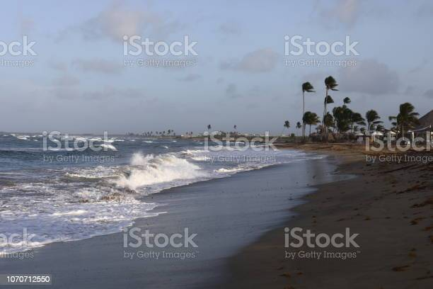 Beach in Uvero Alto, Dominican Republic at sunset. Clouds and sea. Caribbean sunset. Caribbean vacation