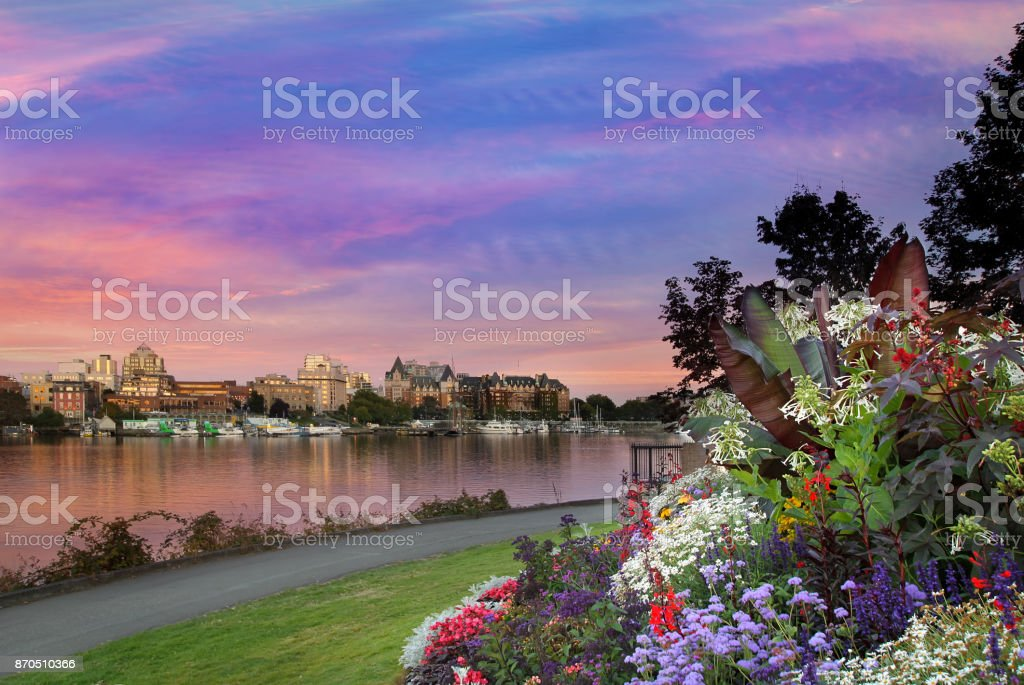 Sunset by the park at Victoria British Columbia Canada Innter Harbour stock photo
